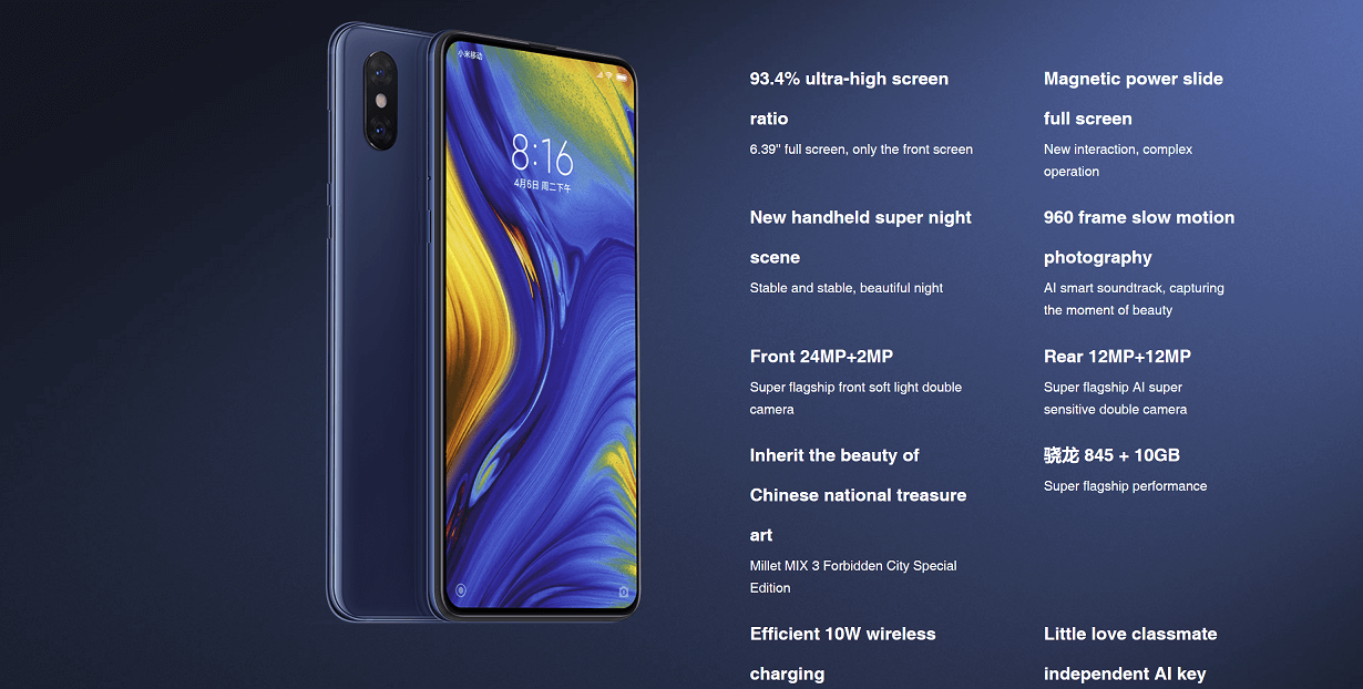 Specifications Xiaomi mix 3